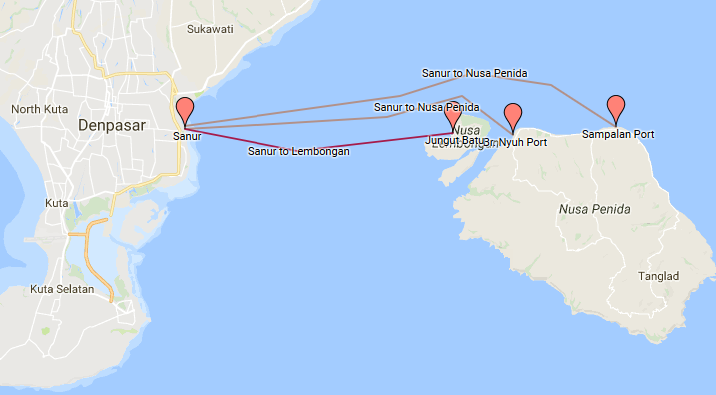 Route Fast Boat Sanur to Nusa Penida and Lembongan